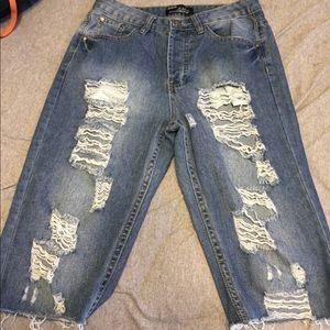 High waist rip Jean shorts